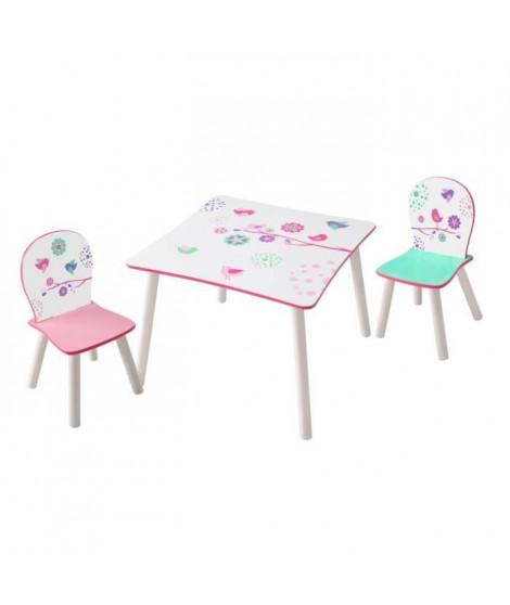 HELLOHOME Table et deux chaises - motif Fleurset oiseaux