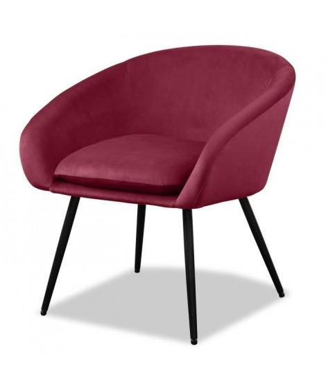 MILEY Fauteuil pieds métal - Tissu rouge - L 67 x P 62 x H 76 cm
