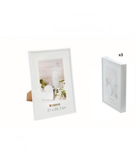 Lot de 3 Cadres Photos - 21x29,7 cm - Format A4 - Plastique et Verre - Blanc