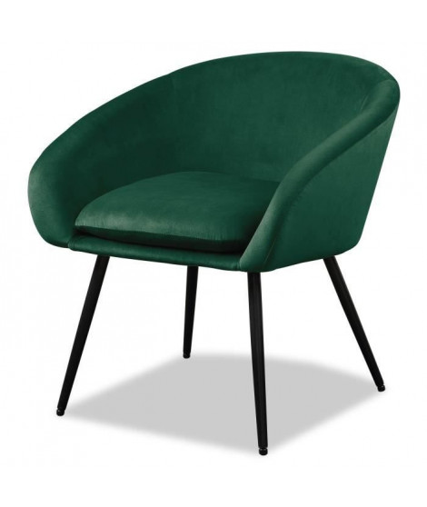 MILEY Fauteuil pieds métal - Tissu vert - L 67 x P 62 x H 76 cm