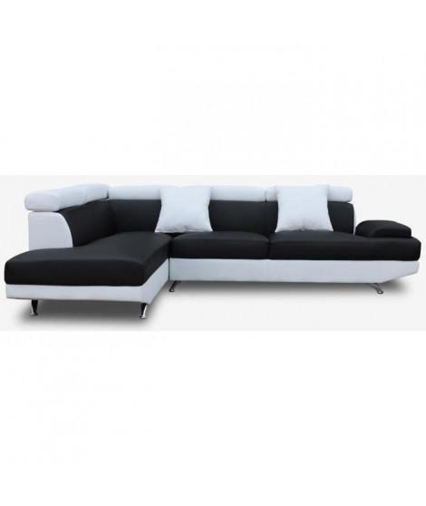 SCOOP Canapé d'angle gauche 4 places - Simili noir et blanc - Contemporain - L 259 x P 182 cm