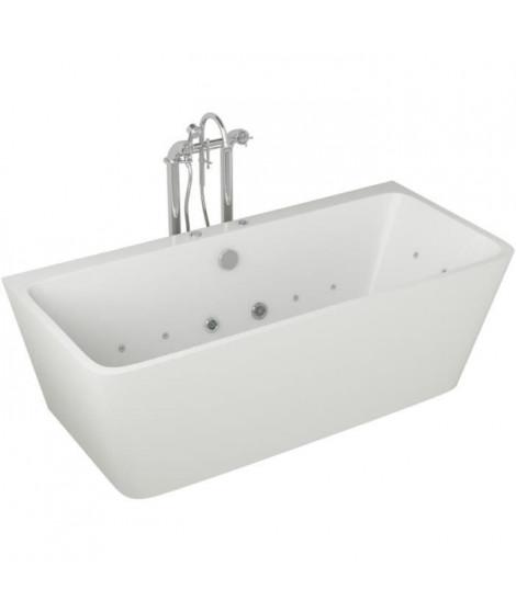 Baignoire hydromassante - 170x75x58cm - Design blanc