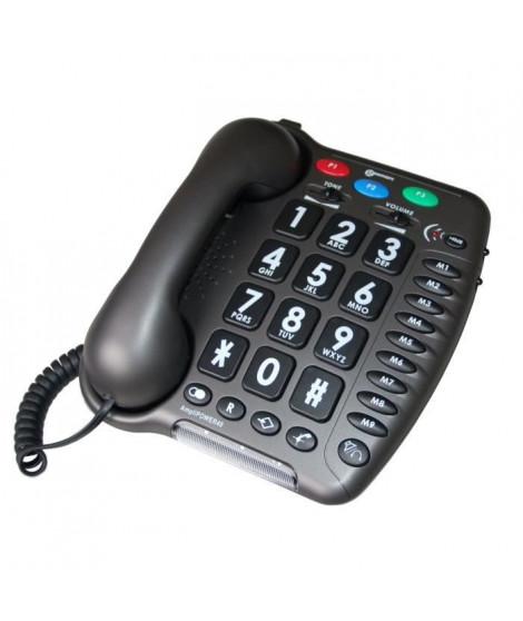 GEEMARC Téléphone fixe grosses touches sénior AMPLIPOWER 40 - Gris anthracite