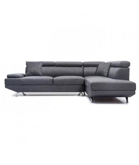 SCOOP Canapé d'angle droit fixe 4 places - Tissu gris foncé - Contemporain - L 259 x P 182 cm