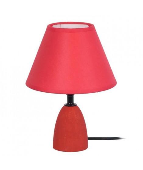 BOIS MINOR Lampe de chevet bois de hetre 16x16x22 cm - Rouge