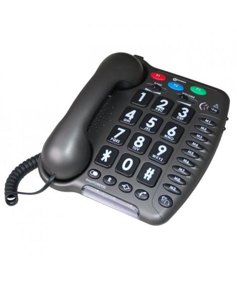 GEEMARC Téléphone fixe AMPLIPOWER 50 - Gris anthracite
