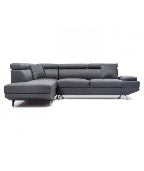 SCOOP Canapé d'angle gauche fixe 4 places - Tissu gris foncé - Contemporain - L 259 x P 182 cm