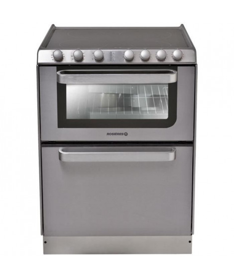 HOOVER Rosieres-Trv60In/U-Cuisinieres Vitroceramique - 60X60 - Email Lisse - Gris