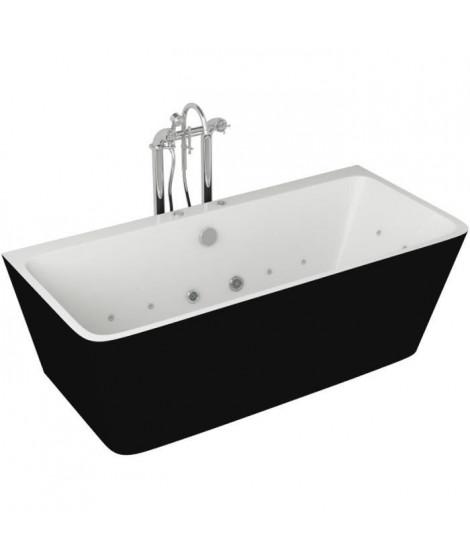 Baignoire hydromassante - 170x75x58cm - Design bicolore - Noir/Blanc