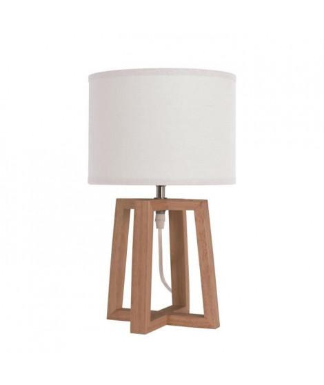BEKER Lampe a poser en bois avec abat-jour en tissu - Ø 22 x H 38 cm - Blanc