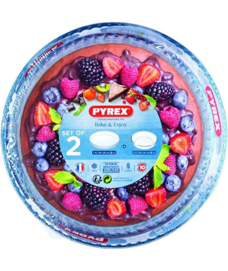 PYREX - Lot moule a manque verre 26cm + moule a tarte verre 28cm