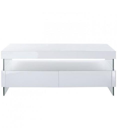 SEZANNE Table basse avec LED style contemporain laqué blanc brillant - L 120 x l 60 cm