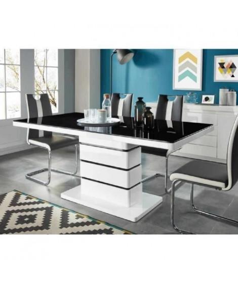LUCIA Table a manger de 6 a 8 personnes style contemporain laqué blanc brillant + plateau en verre trempé noir - L 180 x l 90 cm