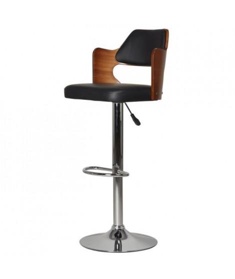 AVESTA Tabouret de bar télescopique en bois bambou et pieds métal chromé - Revetement simili noir - Contemporain - L 43,5 x P…