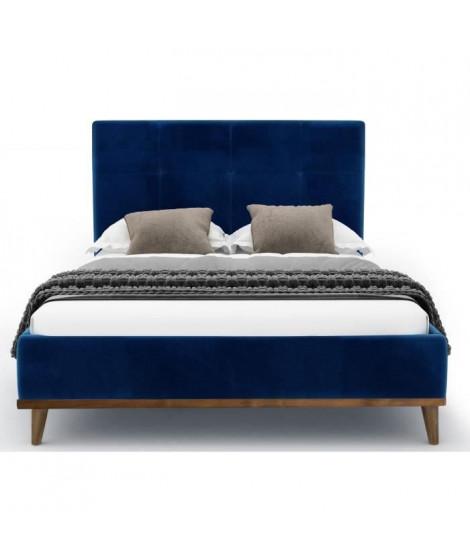 KOOS Lit adulte contemporain - Velours Bleu marine  - Tete de lit inclus - L 140 x l 190 cm