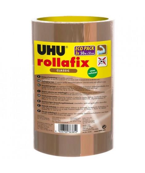 UHU ROLLAFIX RUBAN D'EMBALLAGE BRUN 3 x 50m