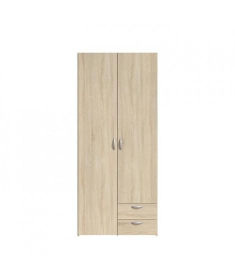 VARIA Armoire de chambre 2 portes décor chene L 81 cm