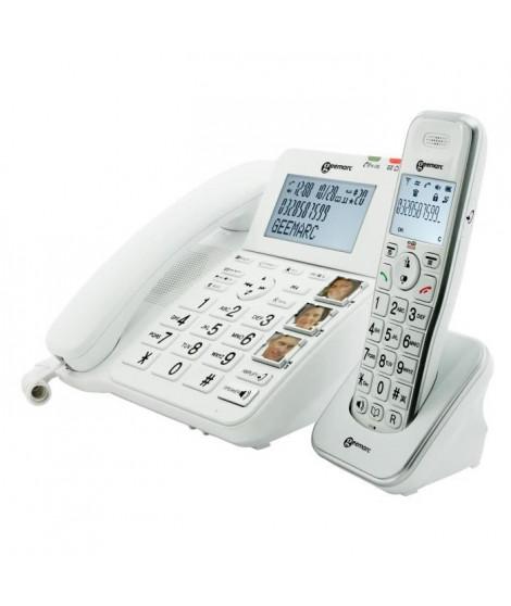 GEEMARC Téléphone filaire grosses touches sénior AMPLIDECT COMBI 295 + AMPLIDECT 295 AD