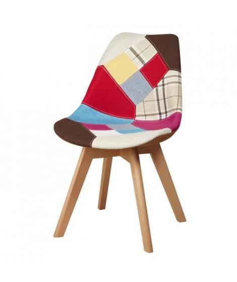 MARTINS  Chaise en tissu patchwork multicolore + pieds en bois naturel - Scandinave - L 51 x P 57 cm