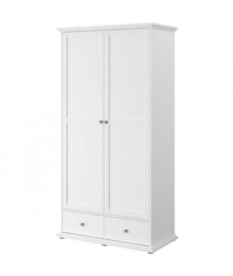 MANON Armoire 2 Portes Blanc - L 104 x P 53 x H 202 cm