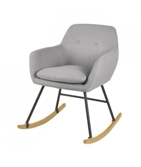 JENS Fauteuil a bascule Rocking Chair - Tissu effet lin gris clair - Scandinave - L 63 x P 75 cm