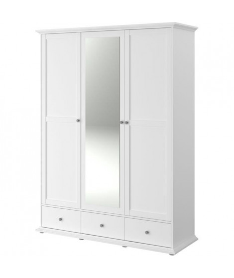 MANON Armoire 3 Portes Blanc - L 152 x P 53 x H 202 cm
