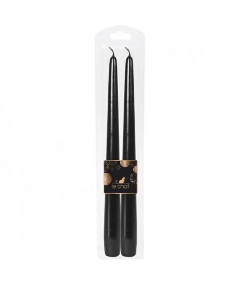 LE CHAT Lot de 2 flambeaux rhodos de Noël - H 29 cm - Noir métallisé