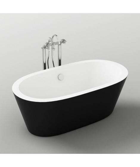 Baignoire - 170x80x58cm - Design bicolore - Noir/Blanc