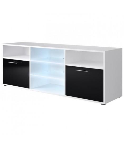 KORA Meuble TV contemporain blanc et noir brillant - L 150 cm