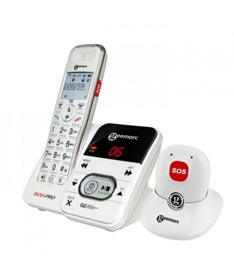GEEMARC Téléphone sans fil grosses touches sénior AMPLIDECT 295 SOS-PRO - Avec Médaillon DECT d'appel d'urgence