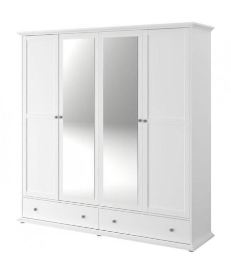 MANON Armoire 4 Portes  Blanc - L 199 x P 53 x H 202 cm