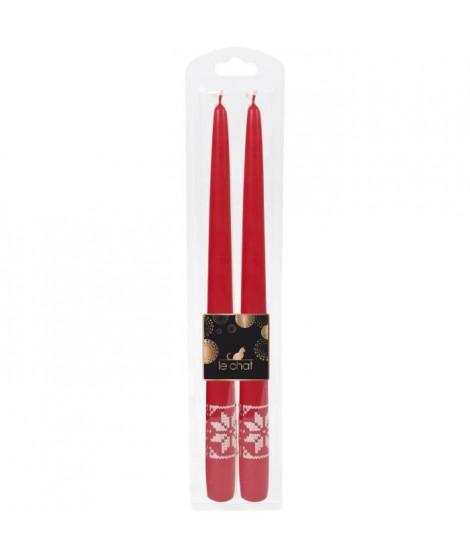 LE CHAT Lot de 2 flambeaux rhodos de Noël - H 29 cm - Rouge avec sérigraphie ivoire