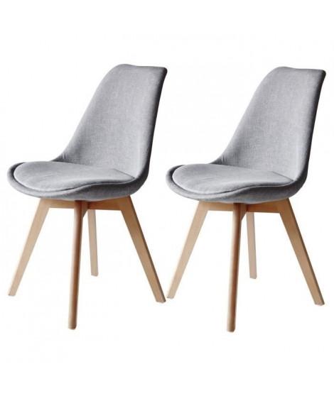 BJORN Lot de 2 chaises pieds bois Hetre - Tissu Gris - L 48,5 x P 56 x H 83 cm