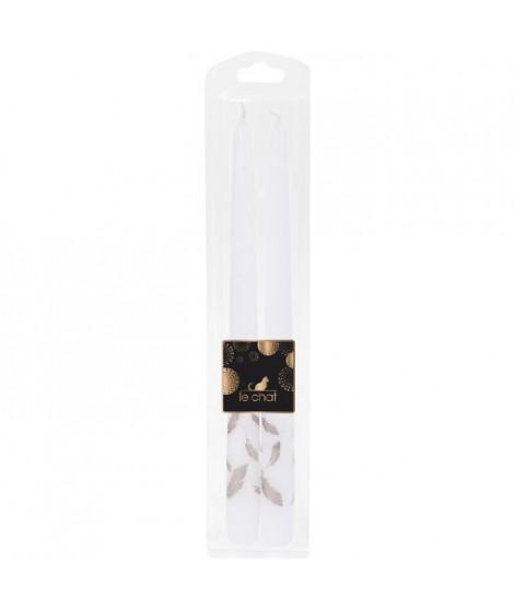 LE CHAT Lot de 2 flambeaux rhodos de Noël - H 29 cm - Blanc avec sérigraphie plume rose doré