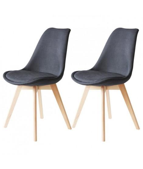 BJORN Lot de 2 chaises pieds bois Hetre - Tissu Noir - L 48,5 x P 56 x H 83 cm