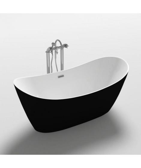 Baignoire - 170x80x72cm - Design bicolore - Blanc/Noir