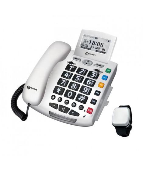 GEEMARC Téléphone filaire grosses touches sénior SERENITIES avec télécommande détection de chute