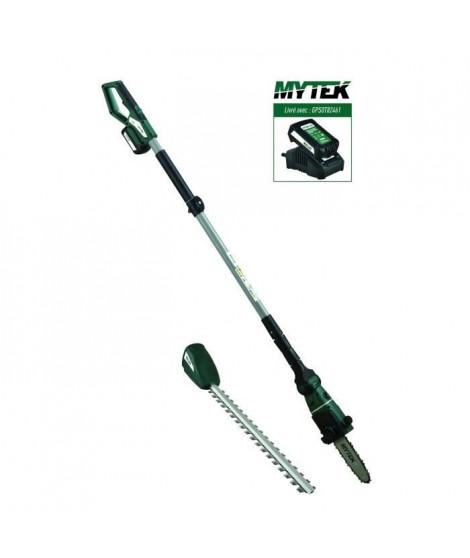 MYTEK Outil multifonctions 2 en 1 sans fil 18V Tronçonneuse, taille-haies