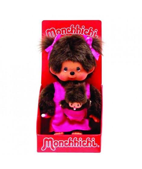 MONCHICHI Maman et son bébé rose - 20 cm