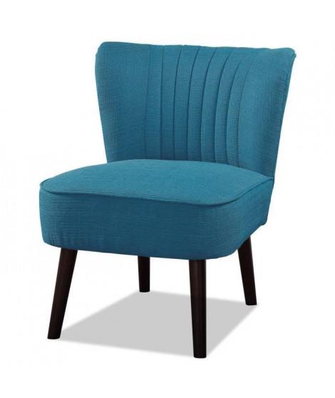 NOLA Fauteuil pieds bois -Tissu bleu - L 59 x P 70 x H 72 cm