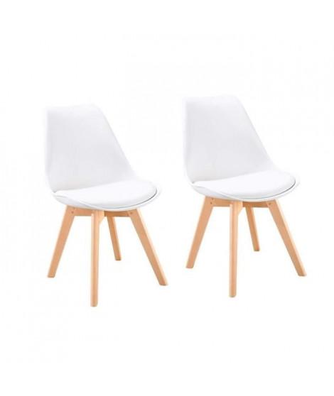 BJORN Lot de 2 chaises de salle a manger - Simili blanc - Scandinave - L 48 x P 57 cm