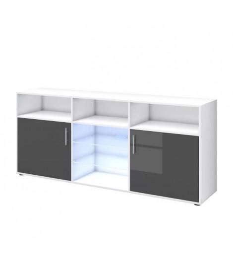 KORA Buffet bas avec LED contemporain gris brillant et blanc mat - L 180 cm