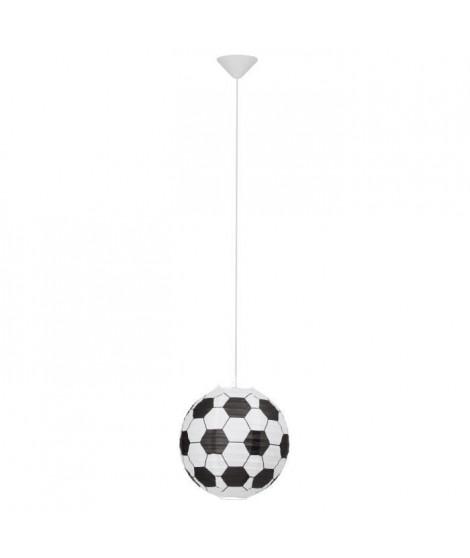 Lustre - suspension papier Soccer motif football diametre 30 cm E27 60W noir et blanc.Chambre enfant