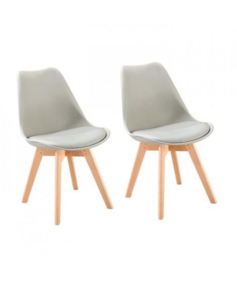 BJORN Lot de 2 chaises de salle a manger - Simili gris - Scandinave - L 48 x P 57 cm