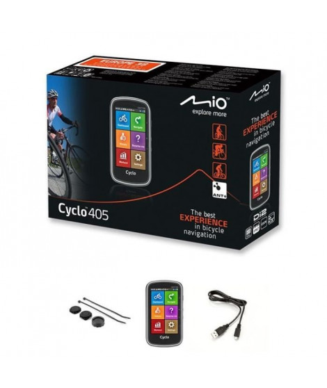 MIO GPS vélo 405 WEU - Processeur ARM Cortex-A7 - GPS Chipset U-blox 7 - Écran tactile 4 - 360 x 600 - 73,7 x 129,4 x 22 mm