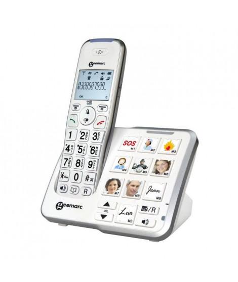 GEEMARC Téléphone grosses touches sénior amplifié numérique sans fil AmpliDECT295 PHOTO - Avec mémoire photo et répondeur int…