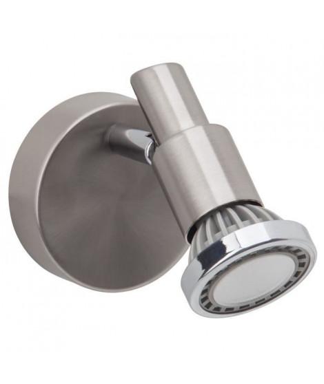Applique spot LED Ryan hauteur 11 cm diametre 8 cm GU10 5W acier et chrome