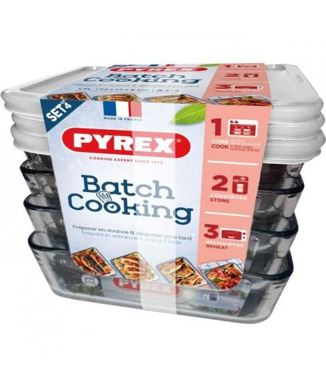 PYREX Lot de 4 plat a four BATCH COOKING 4x 1,5L Cook&Freeze