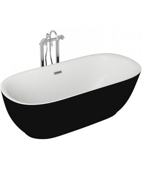 Baignoire - 180x85x58cm - Design bicolore - Noir/Blanc