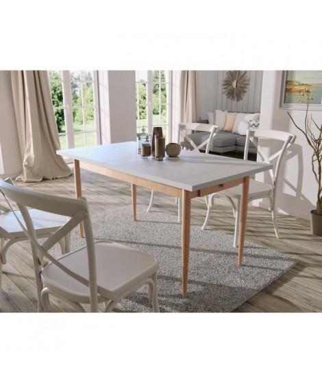 FINLANDEK Table a manger KATTY de 6 a 8 personnes scandinave décor blanc + pieds métal décor bois naturel - L 150 x l 80 cm